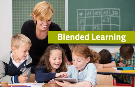 Students and teacher in a blended classroom